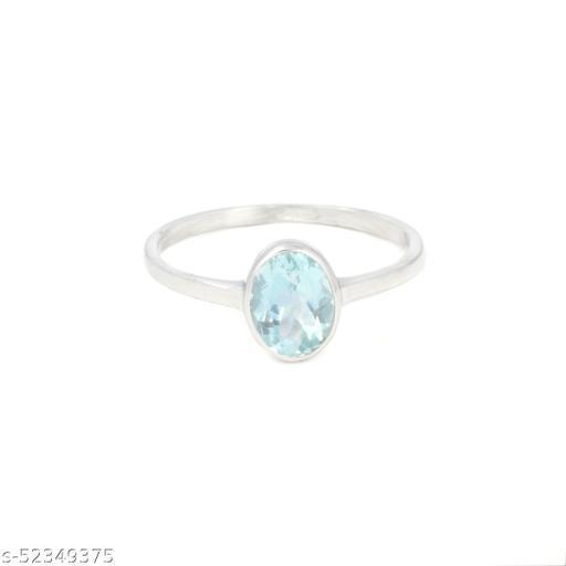 Ratnavali Arts Natural 1.15 ct Aquamarine Gemstone Ring  in 92.5 Sterling Silver for women