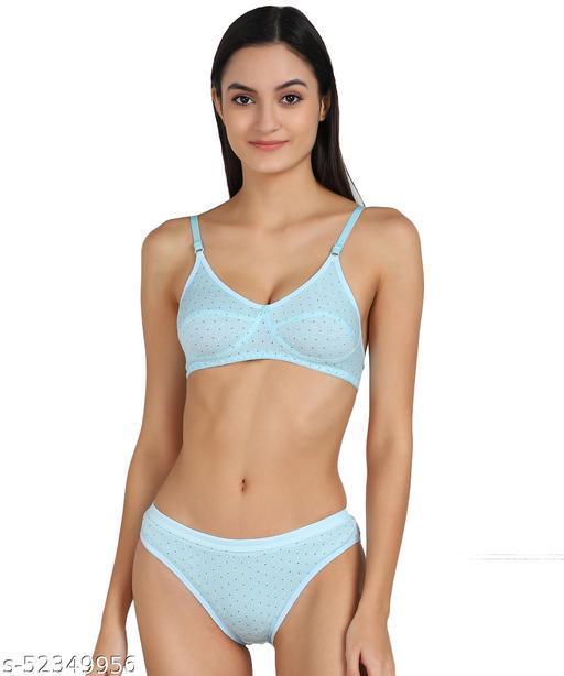 Women Cotton Bra Panty Set for Lingerie Set ( Pack of 1 ) ( Color : Blue ) ( Pattern : Self Design )