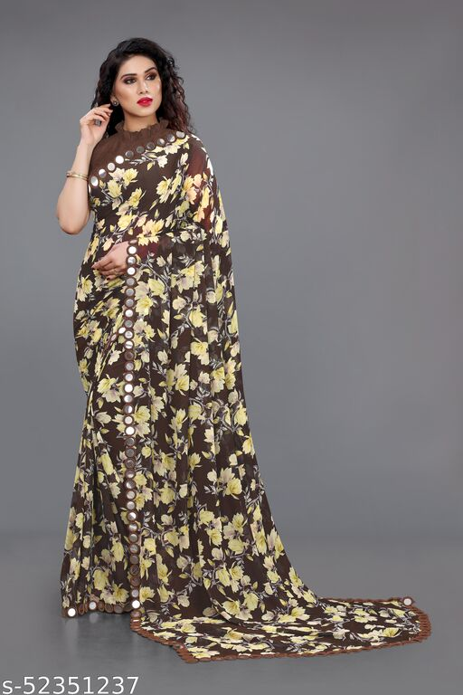 Sourbh Fashion Georgette Floral Print Mirror Lace Bordered Saree With Unstitched Blouse Piece.