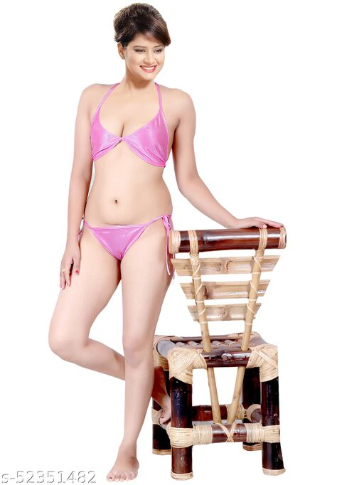 Ankona Satin Bra Panty Set in Bikni Style with Knots for Size Ajustment for Special Occasions