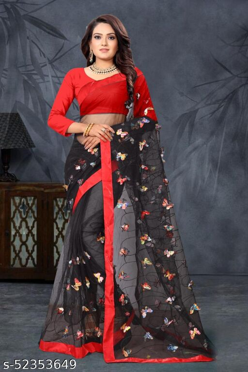 RDS Net saree with Digital Butterfly And Embroidery work (Black)