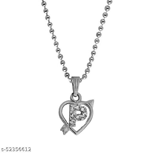 Diamond  Heart Shape Arrow Alphabet Initial  Letter P Locket Gift for Girls And Women  Necklace & Chain