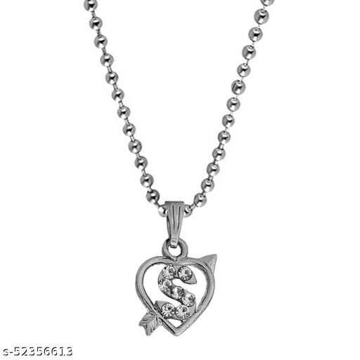 Diamond  Heart Shape Arrow Alphabet Initial  Letter S Locket Gift for Girls And Women  Necklace & Chain
