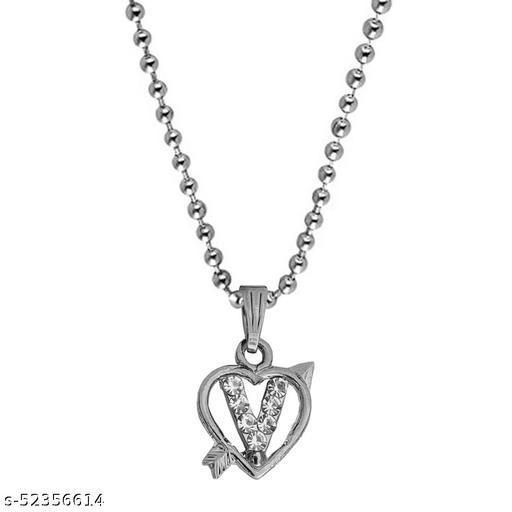 Diamond  Heart Shape Arrow Alphabet Initial  Letter V Locket Gift for Girls And Women
