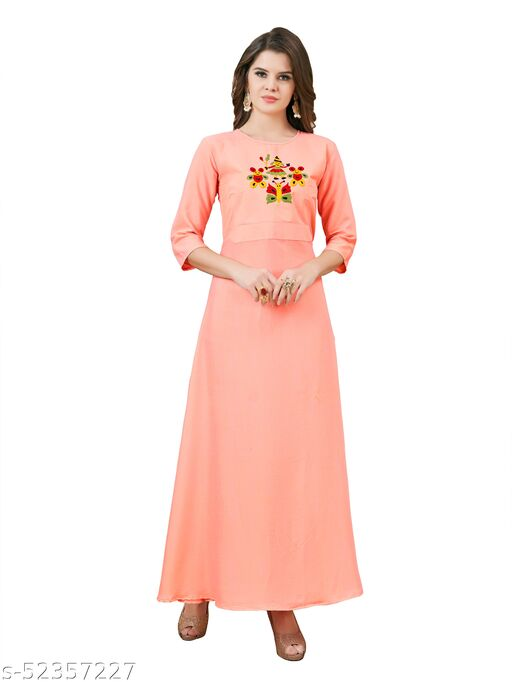 Women's Rayon Fit and Flare Western Maxi Gown