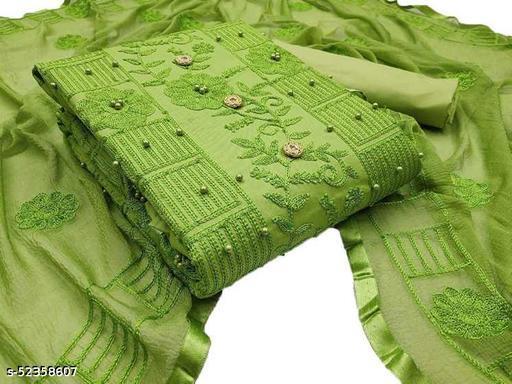 Chanderi Cotton Embroidered Kurta & Churidar Material