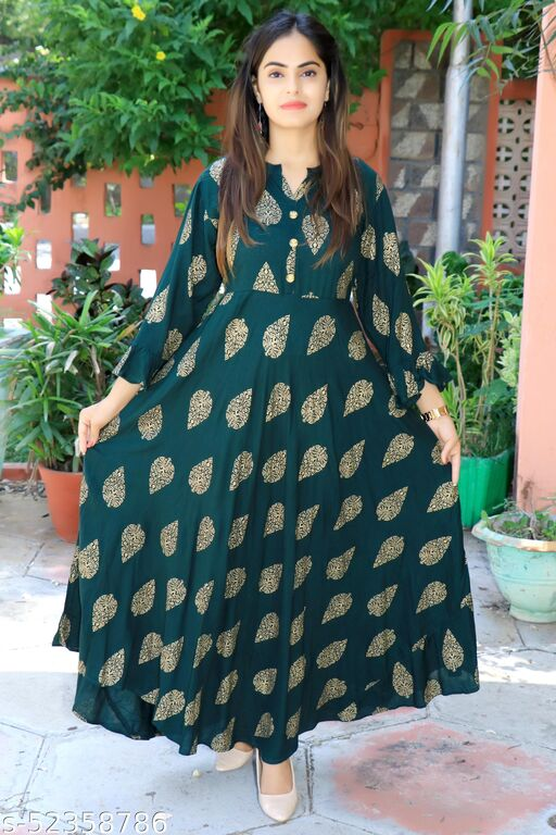Bhavna's Rayon Gold Printed Dark Green Kurta Gown for Women