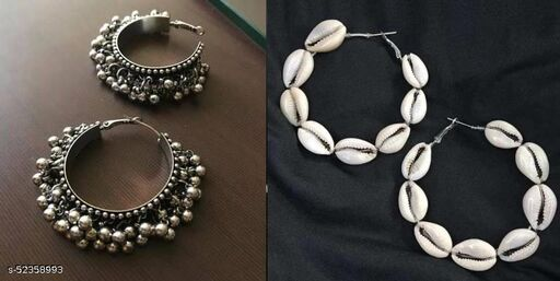 Klenot Silver Oxidised Guchhi And Shell Hoop Earrings Combo