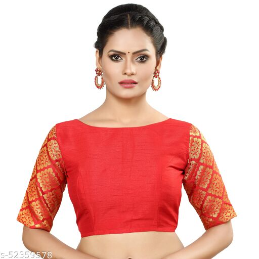 MADHU FASHION Brocade Sleeves Readymade Saree Blouse