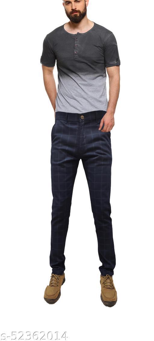 True Colors Mens Cotton Casual Checks Trouser Dark Blue