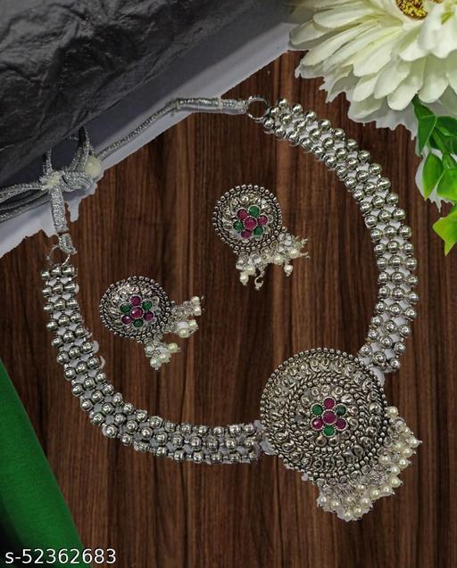 SGC Elili Afghani Oxidised Silver Jewellery Stylish Choker Necklace Set With beautiful Earrings for Women & Girls
