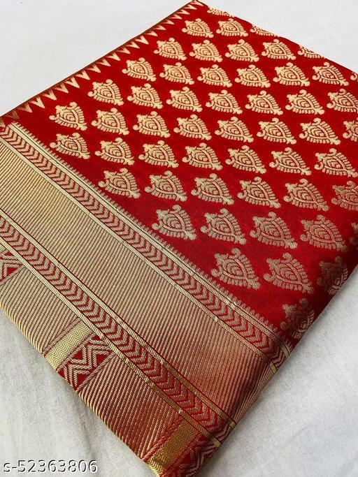 Women's kanchipuram Cotton Silk Saree With Unstitched Running Blouse Piece