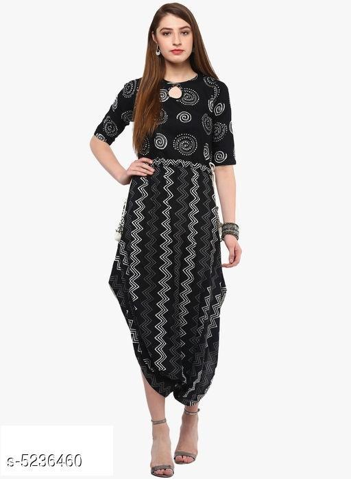 Women's Black Printed Cotton Kurti