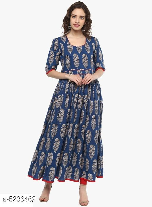 Divena Women's Cotton Floral Printed Pleated Kurti