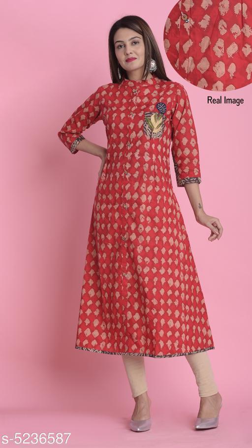 Divena Women's Cotton Abstract Printed A-line Kurti
