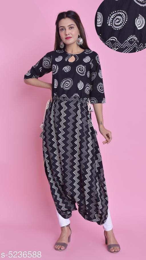 Divena Women's Cotton Chevron Printed Dhoti Kurti