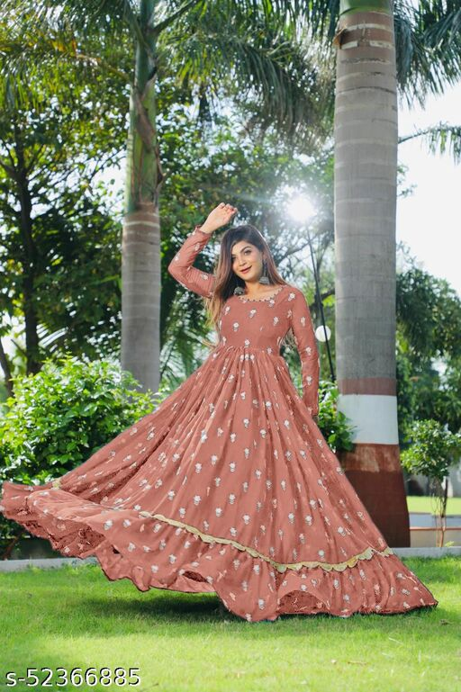 NEW Georgette Full Stitched Anarkali Gown with digital printed duppatta