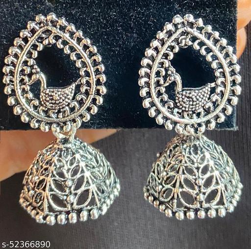 Klenot Silver Oxidised Peacock Design Silver Beads Jhumki Earrings