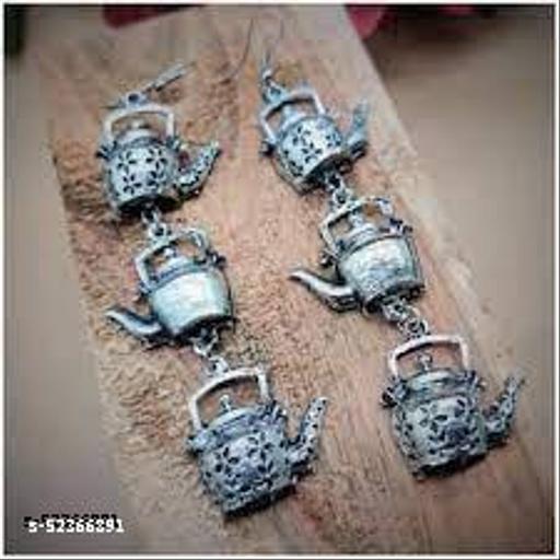 Klenot Silver Oxidised Kettele Drop Design Earrings