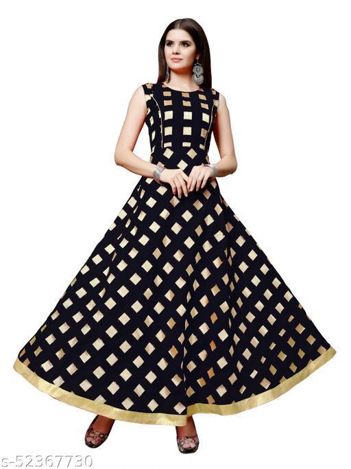 Women's Chanderi Jackard Printed Maxi Long Gown