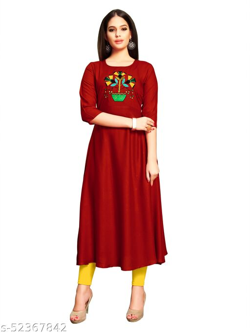 Women's Rayon Fabric Classic A-Line Gown/Rayon Anarkali Kurti/A-Line Gown/Rayon Hand Work Gown