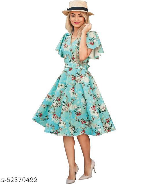 Ritsila Women's Fit And Flare Fancy Western Cotton Midi Dress