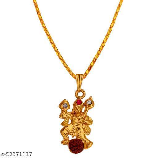 Lord Veer Hanuman Pawanputra Gada Rudhrasha Bead Locket With Chain
