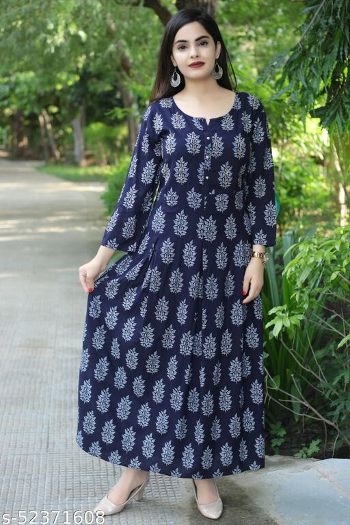 Bhavna's Rayon Floral Printed Dark Blue Casual Kurta Gown for Women