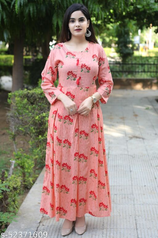 Bhavna's Rayon Floral Printed Peach Casual Kurta Gown for Women