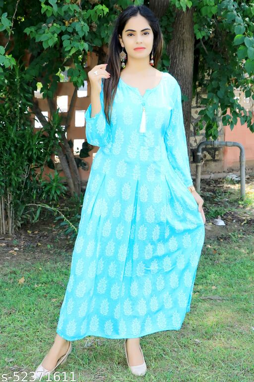 Bhavna's Rayon Floral Printed Sky Blue Casual Kurta Gown for Women
