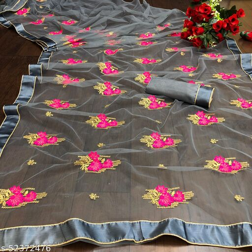 RDS Net Saree With Beautifully Embroidery Work And Lace Border (Grey)