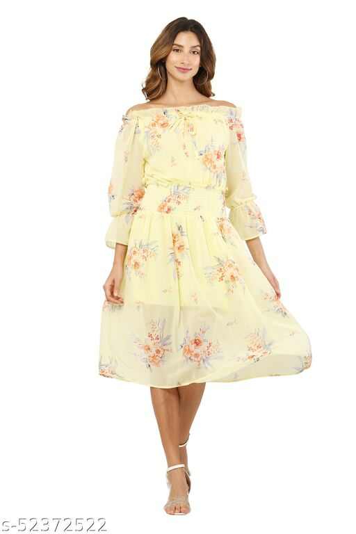 MM LADY OUTFITS FLORAL PRINTED LEMON COLOR DRESS FOR WOMEN