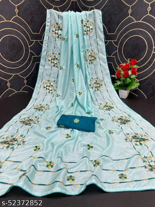 Parth Trendz Women's Dola Silk Bride Embroidered Party Wedding Fashion Sarees Sky Blue Color