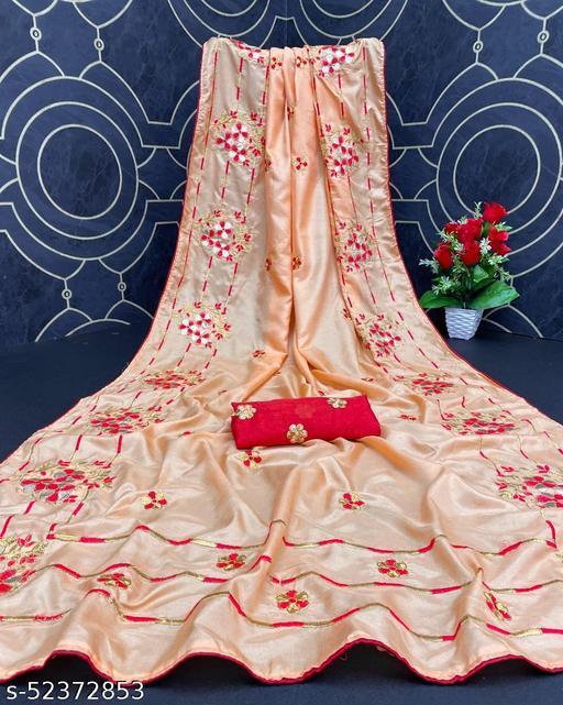 Parth Trendz Women's Dola Silk Bride Embroidered Party Wedding Fashion Sarees Peach Color