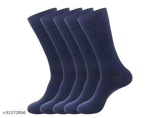 Men's Office Wear Compact Combed Cotton Regular Length Navy Blue Color Socks ( Free Size) - Pack of 5