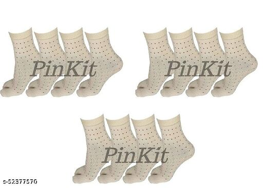 Women Ladies Cotton Ankle Length Socks with Thumb (Pack of 12 Pairs, Beige)