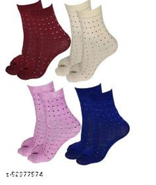 Women Ladies Cotton Ankle Length Socks with Thumb (Pack of 4 Pairs, Color)