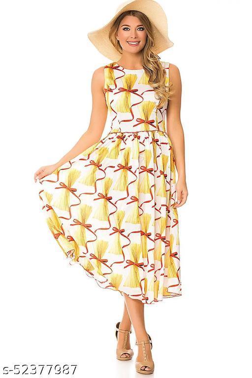 Ritsila Women's Fit An dFlare Fancy western Cotton Midi Yellow Printed Dress