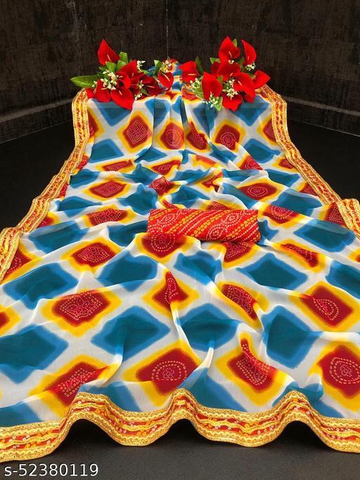Bittu Fashion Women's Georgette Bandhej Block Printed Bandhani Fashion Sarees Aqua Blue Color