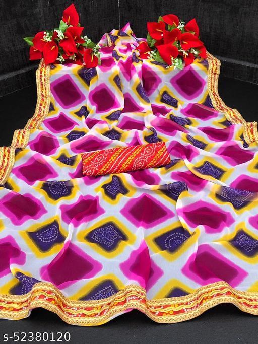 Bittu Fashion Women's Georgette Bandhej Block Printed Bandhani Fashion Sarees Pink Color