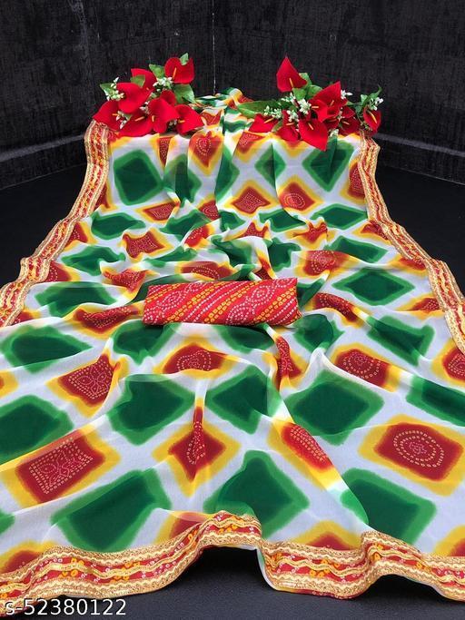Bittu Fashion Women's Georgette Bandhej Block Printed Bandhani Fashion Sarees Green Color