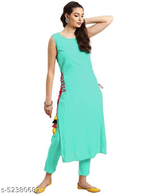 Women's Rayon Straight Stitched Sky Blue Color Kurti