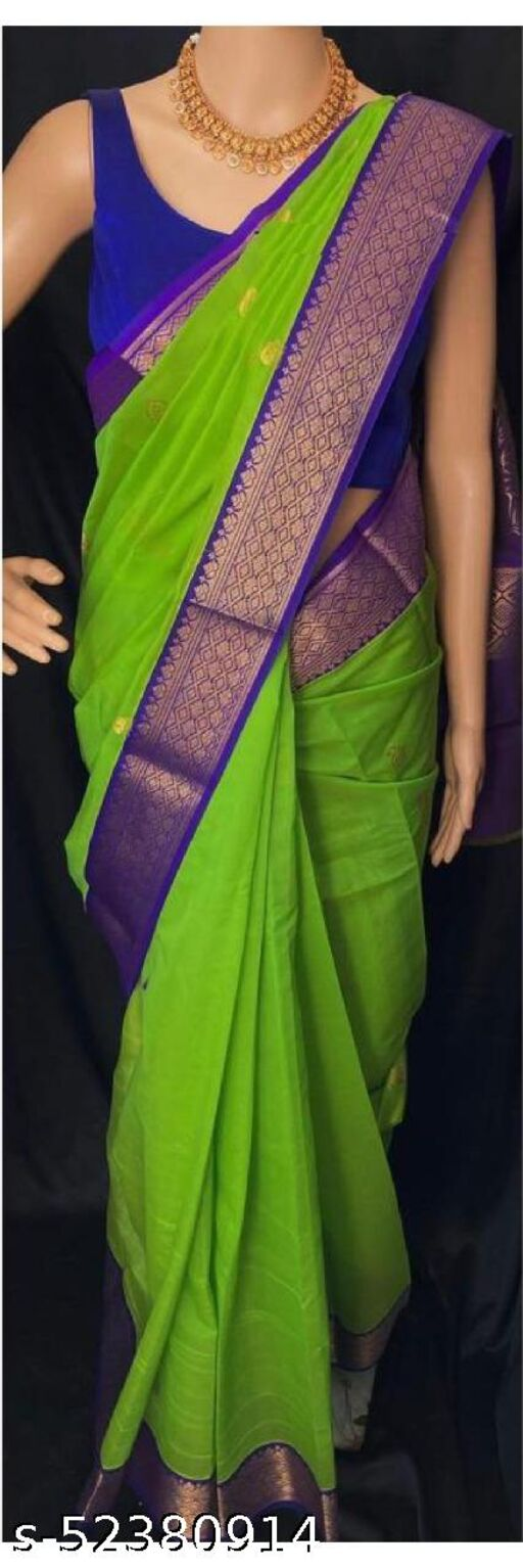 Beautiful Art Silk Jacquard Border BEAUTIFUL RICH PALLU & JACQUARD  PATTERN WORK  ON ALL OVER THE SAREE WITH CONTRAST WITH EXCLUSIVE JACQUARD BORDER WIUTH BLOUSE