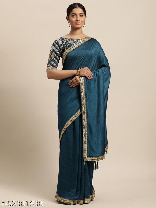LOOKS18 Women's Teal Blue Poly Silk Embroidered Designer Partywear Saree With Unstiched Blouse