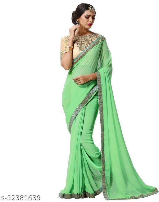 LOOKS18 Women's Light Green Georgette Saree with Designer Unstiched Blouse