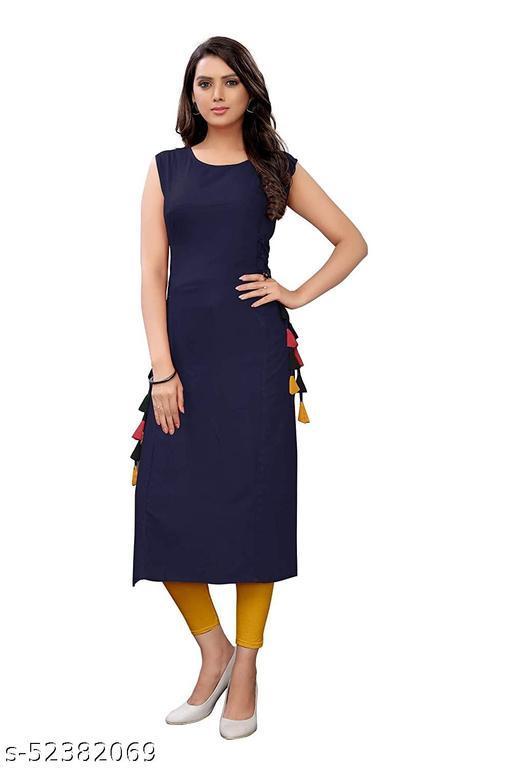 Women's Rayon Straight Stitched Blue Color Kurti