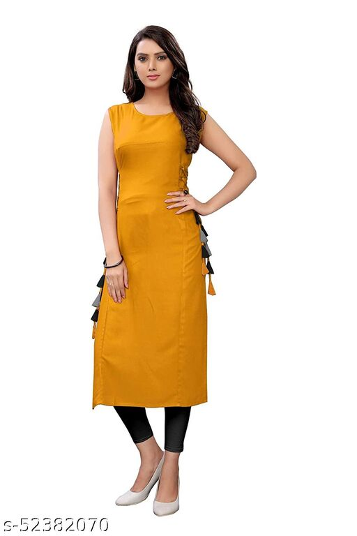 Women's Rayon Straight Stitched Yellow Color Kurti
