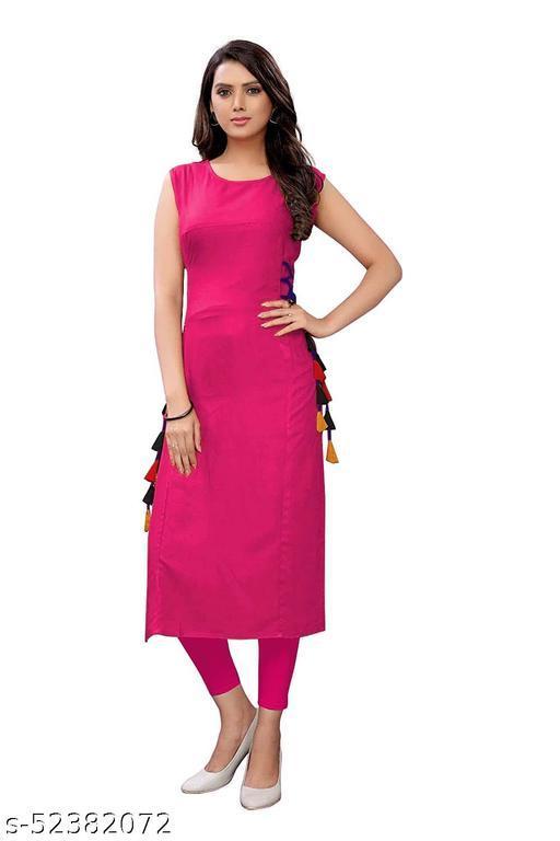 Women's Rayon Straight Stitched Rani Color Kurti