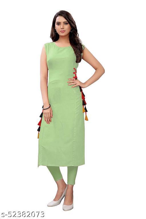 Women's Rayon Straight Stitched Light Green Color Kurti