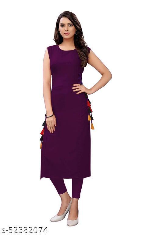 Women's Rayon Straight Stitched Wine Color Kurti